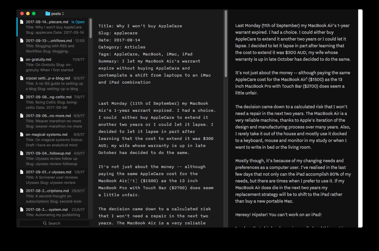 iA Editor UI in Dark Mode
