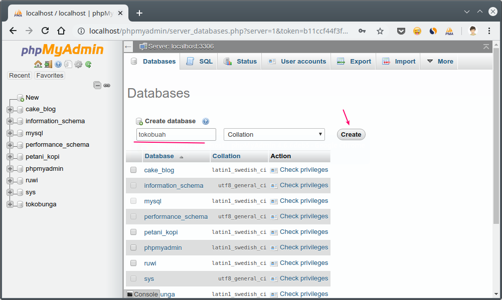 Create a new database