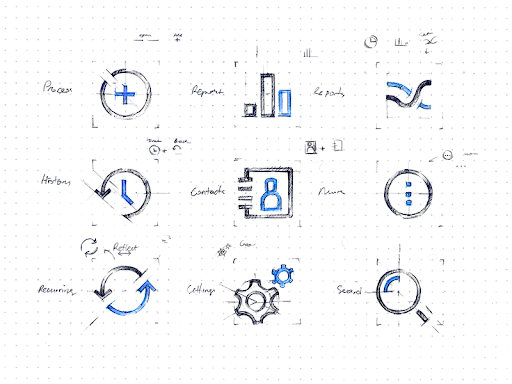 In UI design, icons are used to communicate content or trigger a specific action