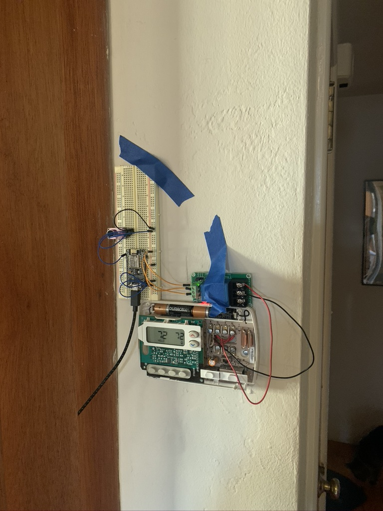 Breadboard taped to wall
