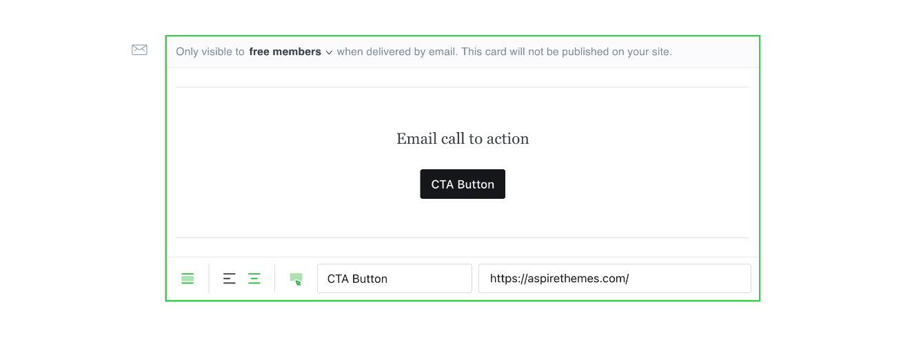 Ghost Email call to action card editor