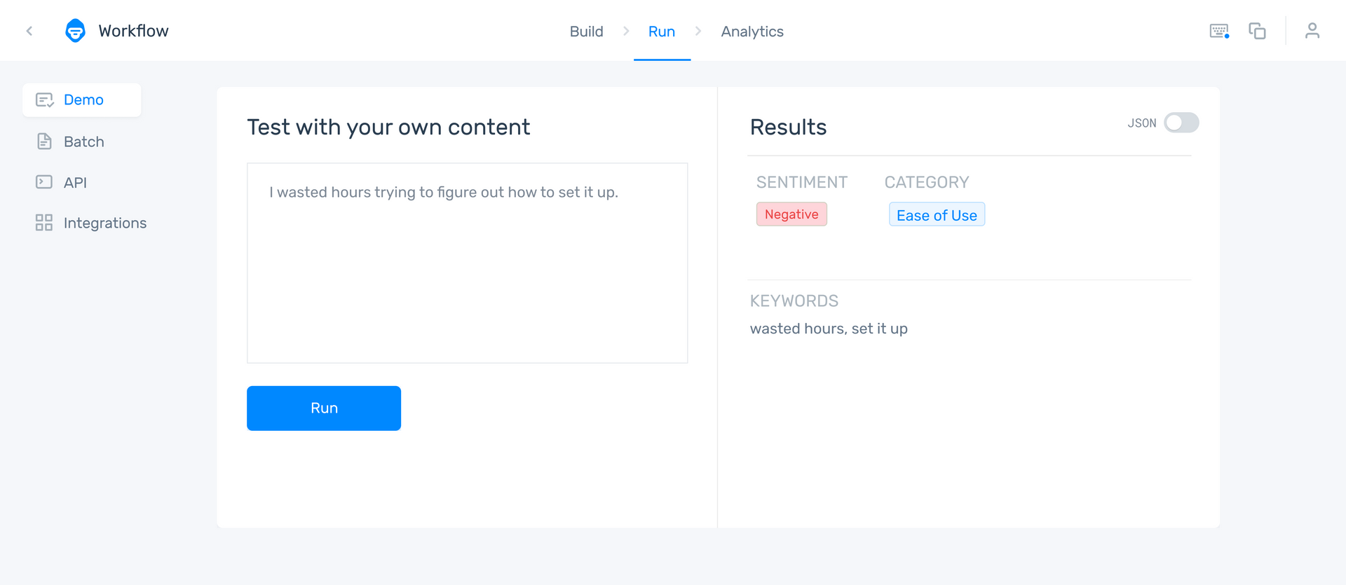 """An aspect-based sentiment analyzer showing the comment: """"I wasted hours trying to figure out how to set it up."""" as Negative under the category Ease of Use."""