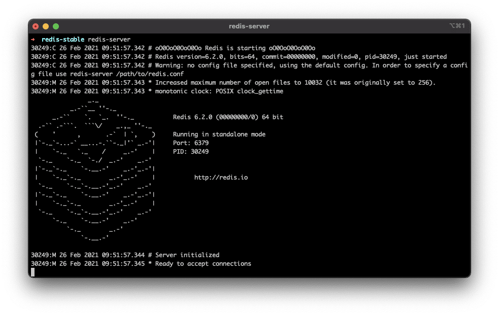 Redis server up and running