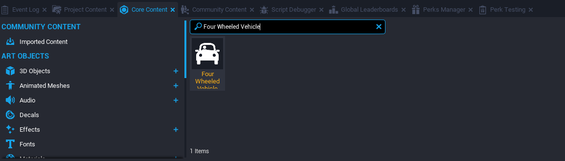 Searching Core Content for Four Wheeled Vehicle