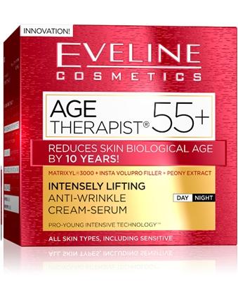 EVELINE AGE THERAPIST® 55+ intenzív lifting és ránctalanító nappali/éjszakai krém-szérum 50ml | Eveline Cosmetics