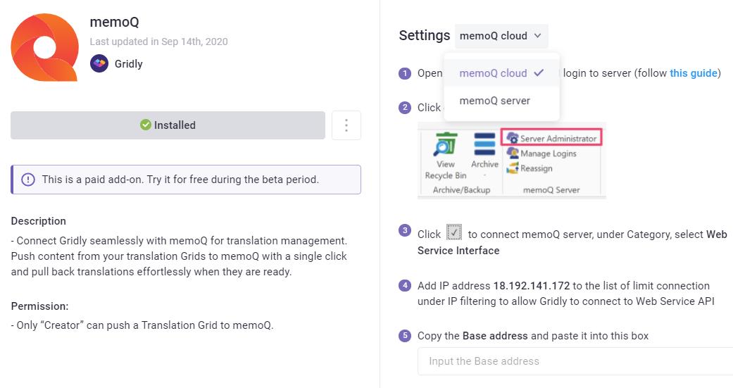Connect memoQ in few clicks