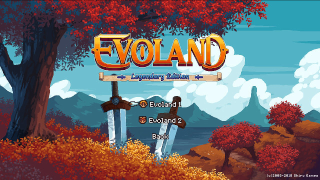 A screenshot of the EvoLand Legendary Edition start screen