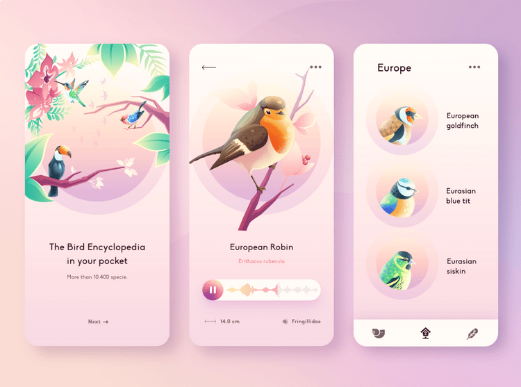 Illustration of a UI with gradients