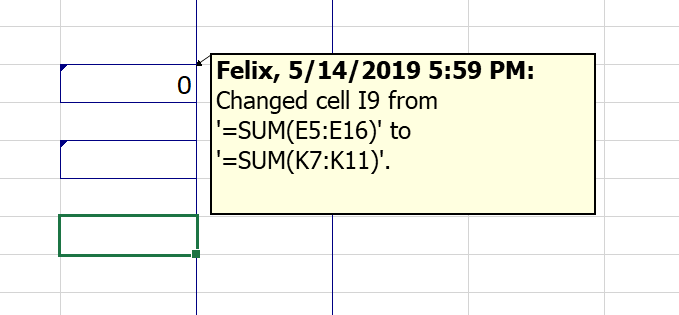 track changes in excel via list