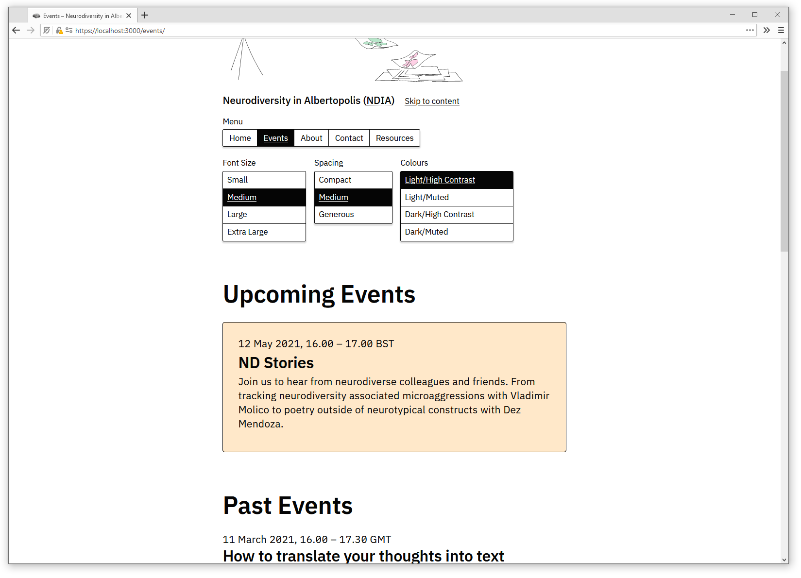 Screenshot of NDIA website. A header illustration, site menu, and a list of upcoming and past events is visible.