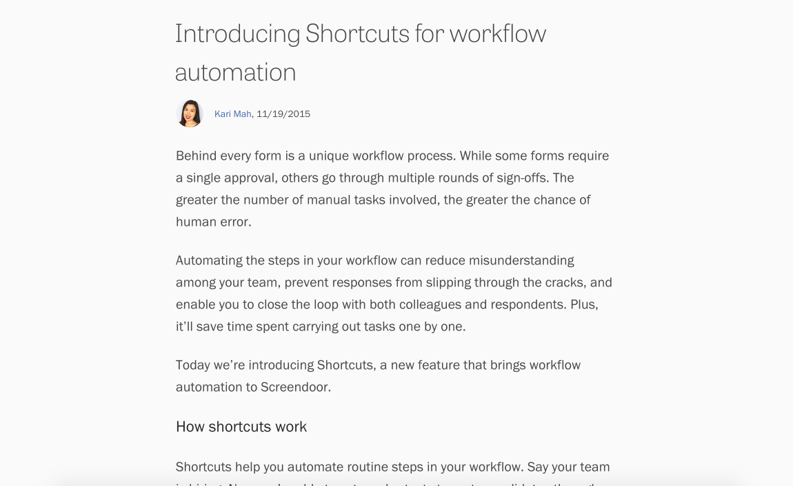 The blog post announcing shortcuts.