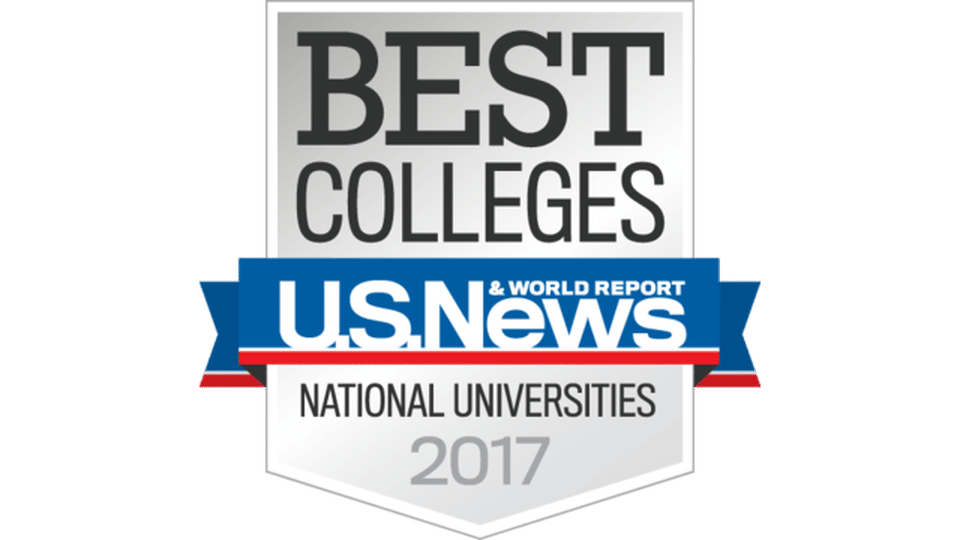 A symbol with text saying Best Colleges by US News and world report, category National Universities 2017