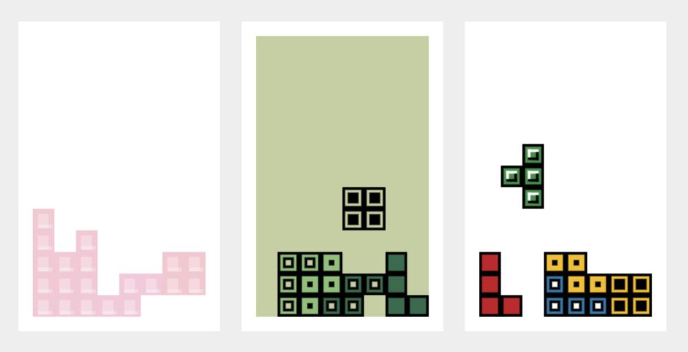 Tetris Pieces, on display.