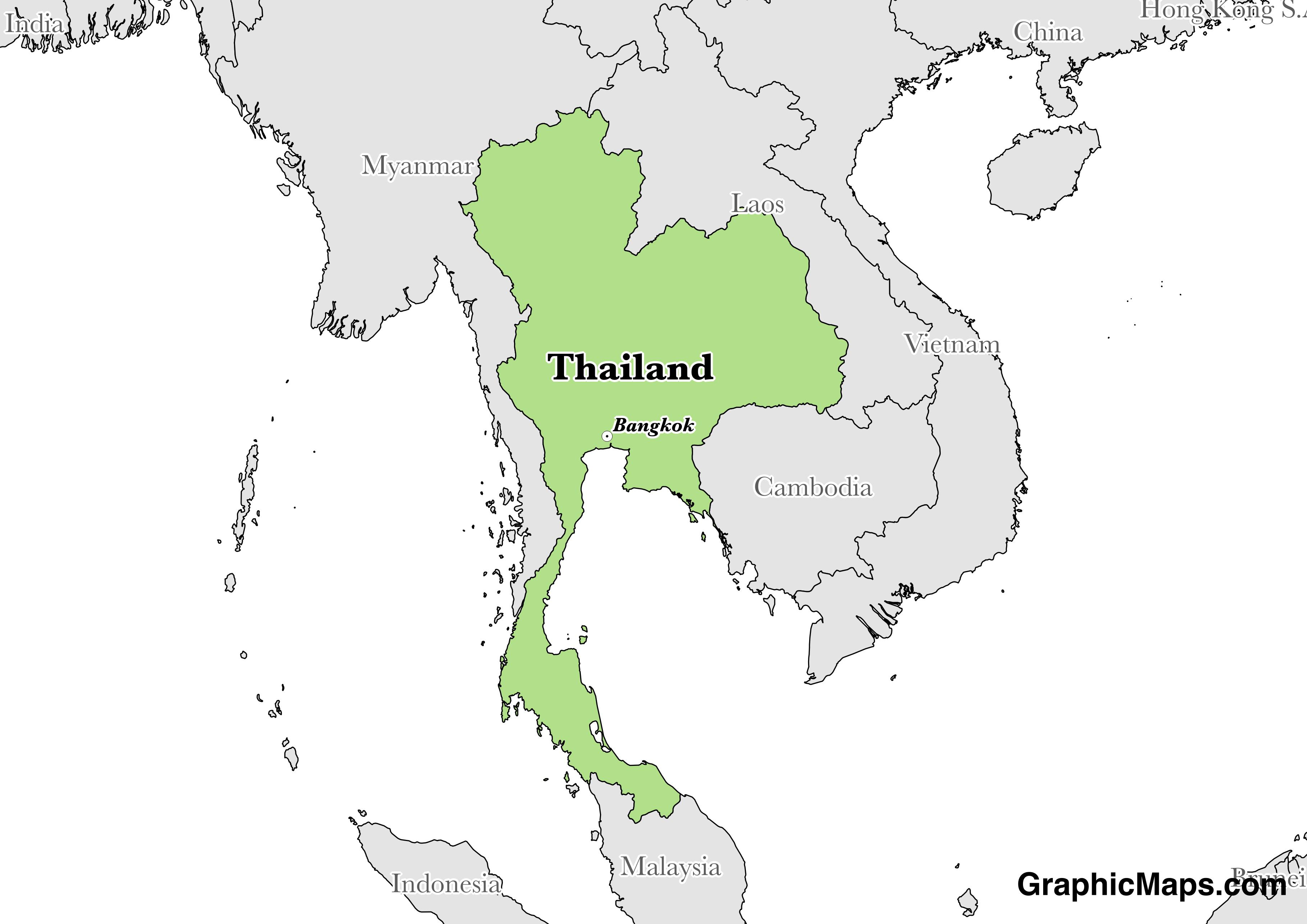 Map showing the location of Thailand