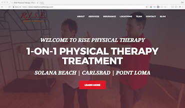 rise physical therapy website screenshot