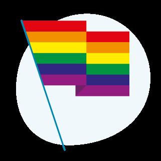 An icon of a rainbow flag.