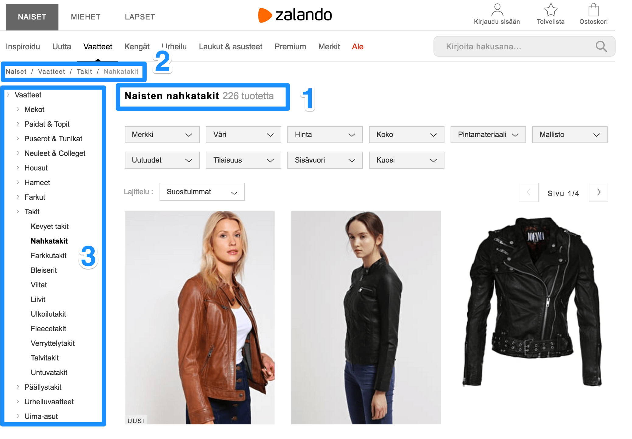 Top of Zalando's product listing page