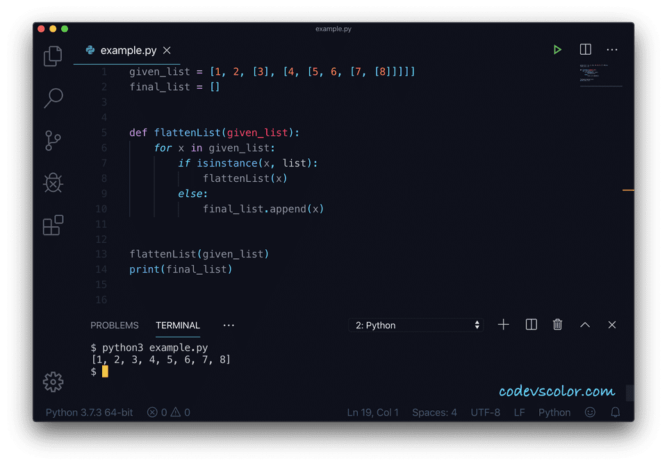 Python flatten list example1