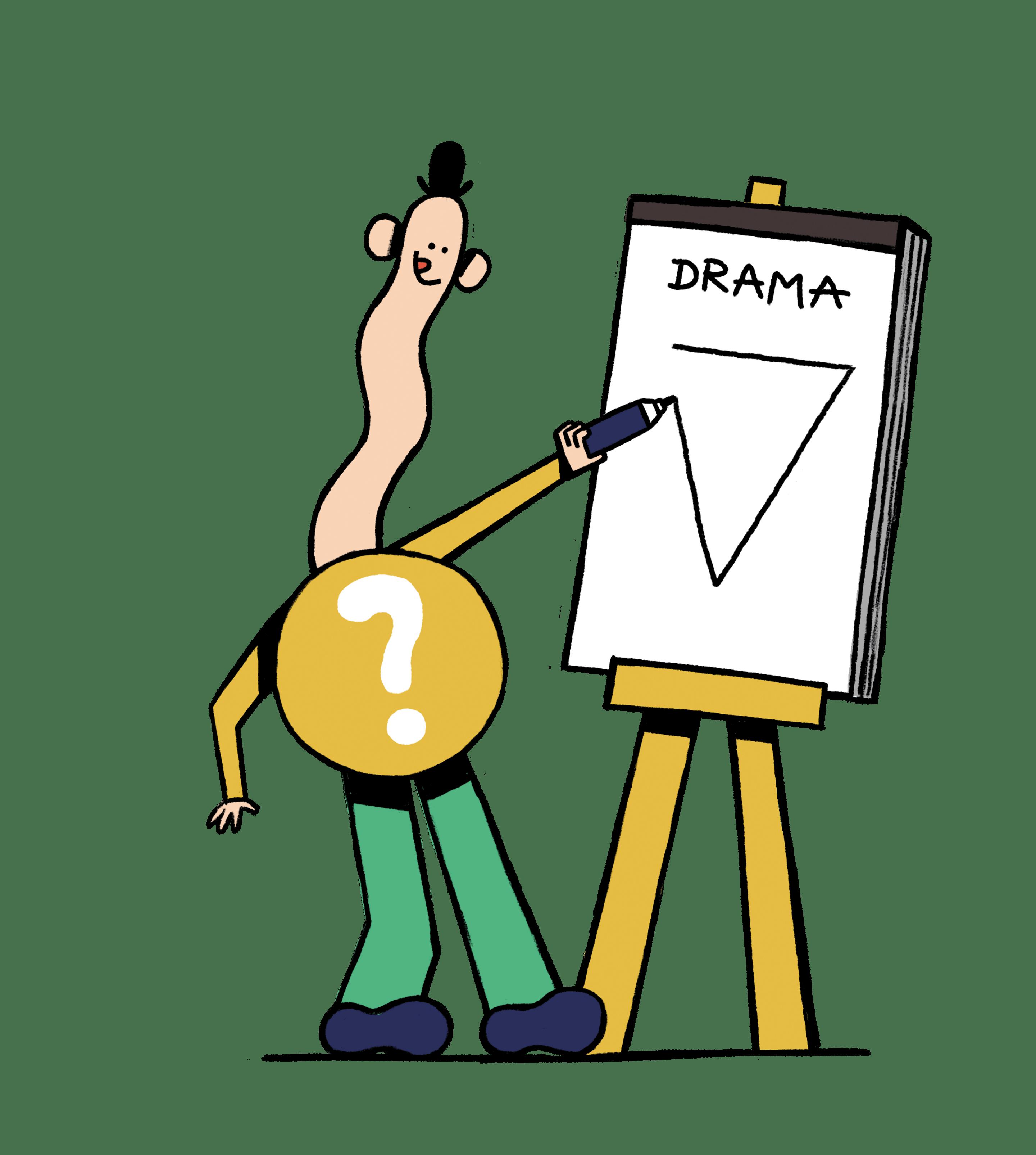 Eine Figur die Drama an ein Whiteboard schreibt