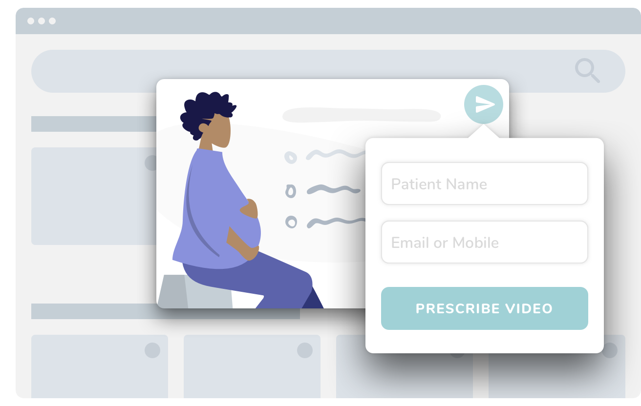 Illustration of the product showing a doctor prescribing a video to a patient from a library of videos.