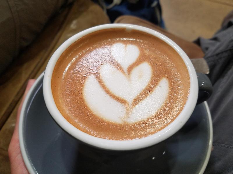 "An Ozone flat white coffee with ""oat"" milk - thanks Austin"