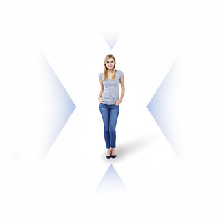 Person standing in the middle of the letter x