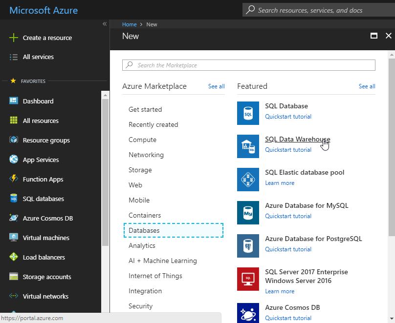 Azure new database