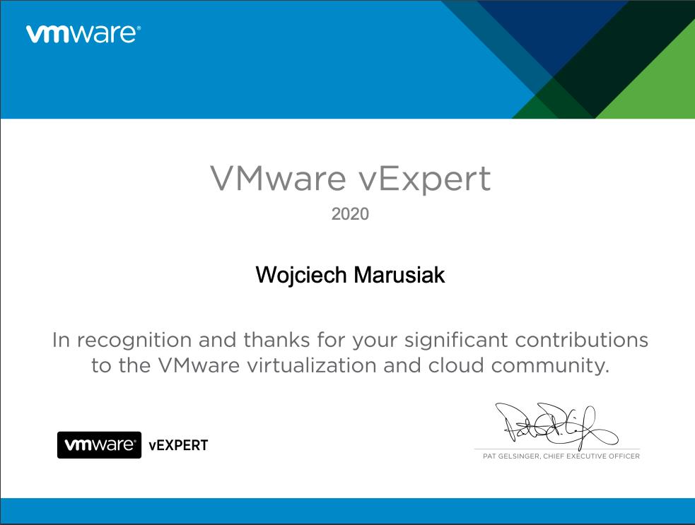 VMware vExpert Certificate