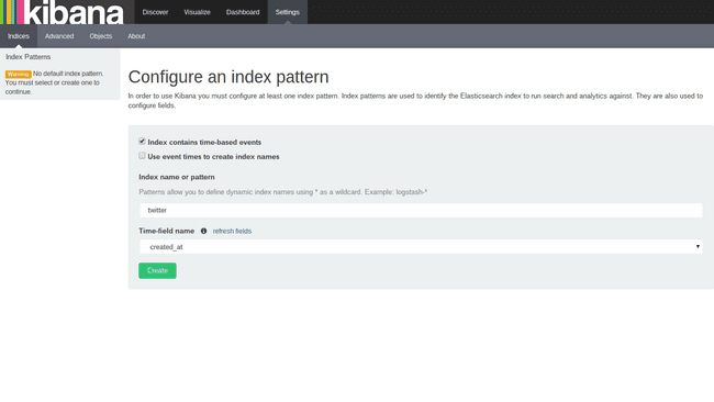 Configure the sample twitter index