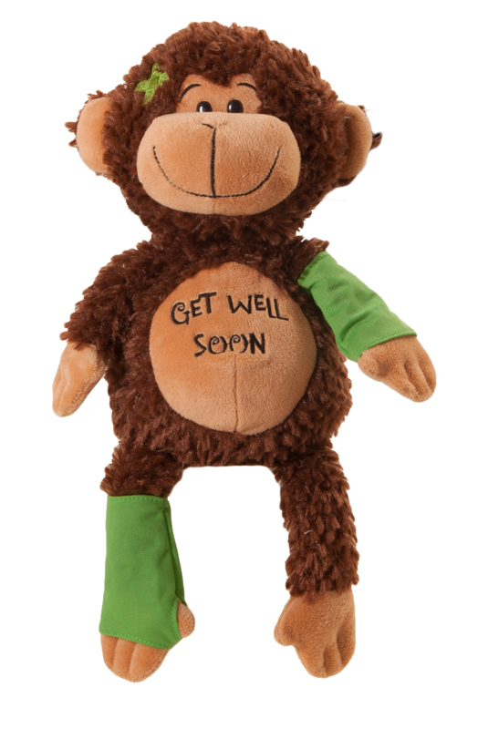 """The Petting Zoo: 14"""" Get Well Soon Signature Monkey"""