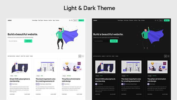 Joben Ghost Theme Dark & Light Theme