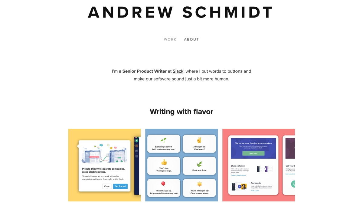 Screenshot of Andrew Schmidt's portfolio page. Work samples are organised and presented by the kind of skill each project demonstrates.