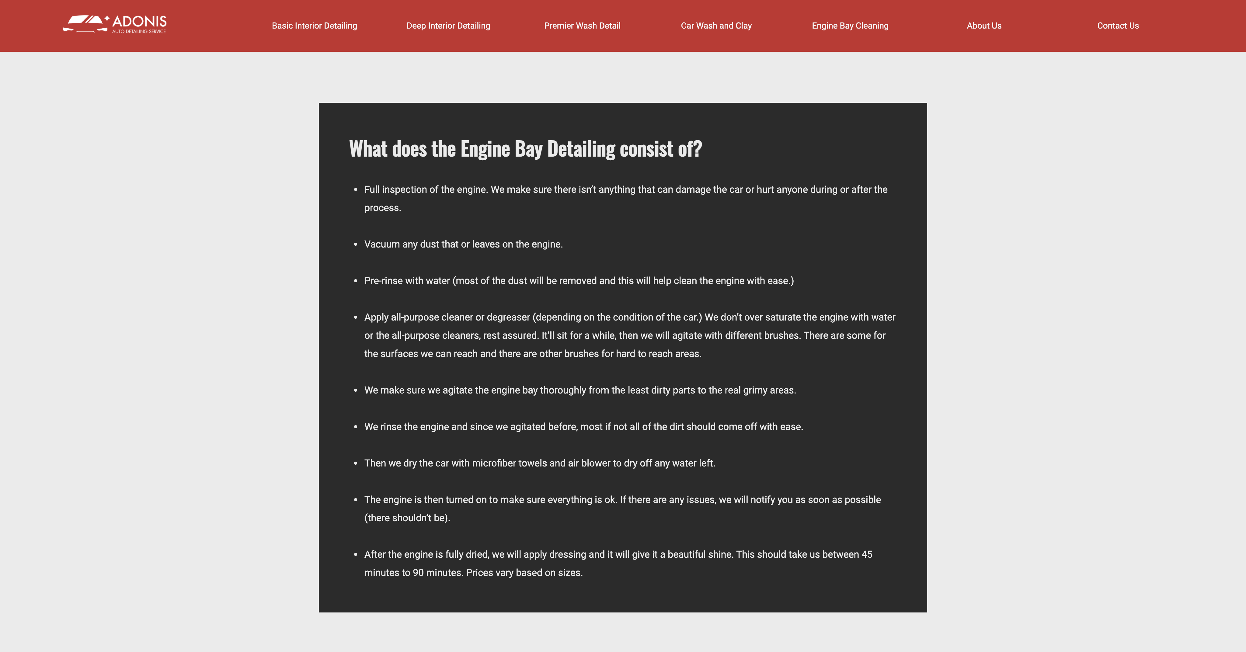 Adonis website service info