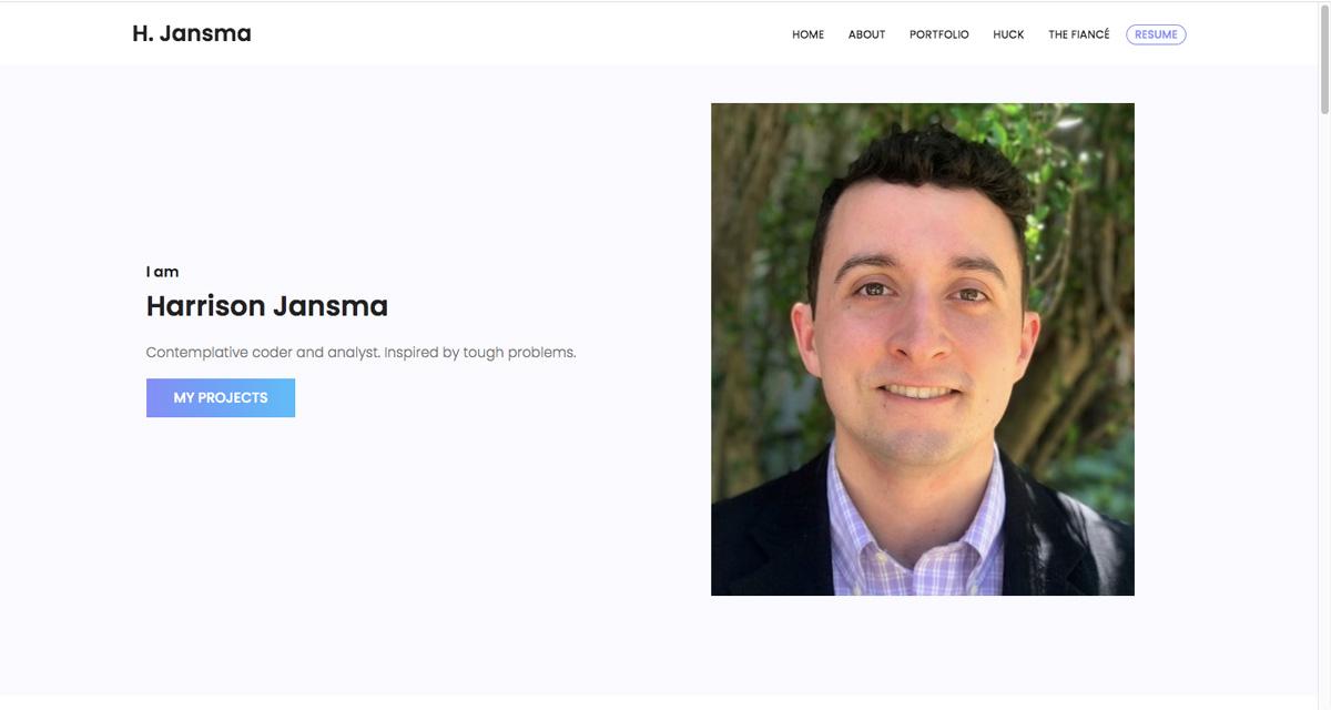 The homepage of Harrison Jansma's data analytics portfolio website