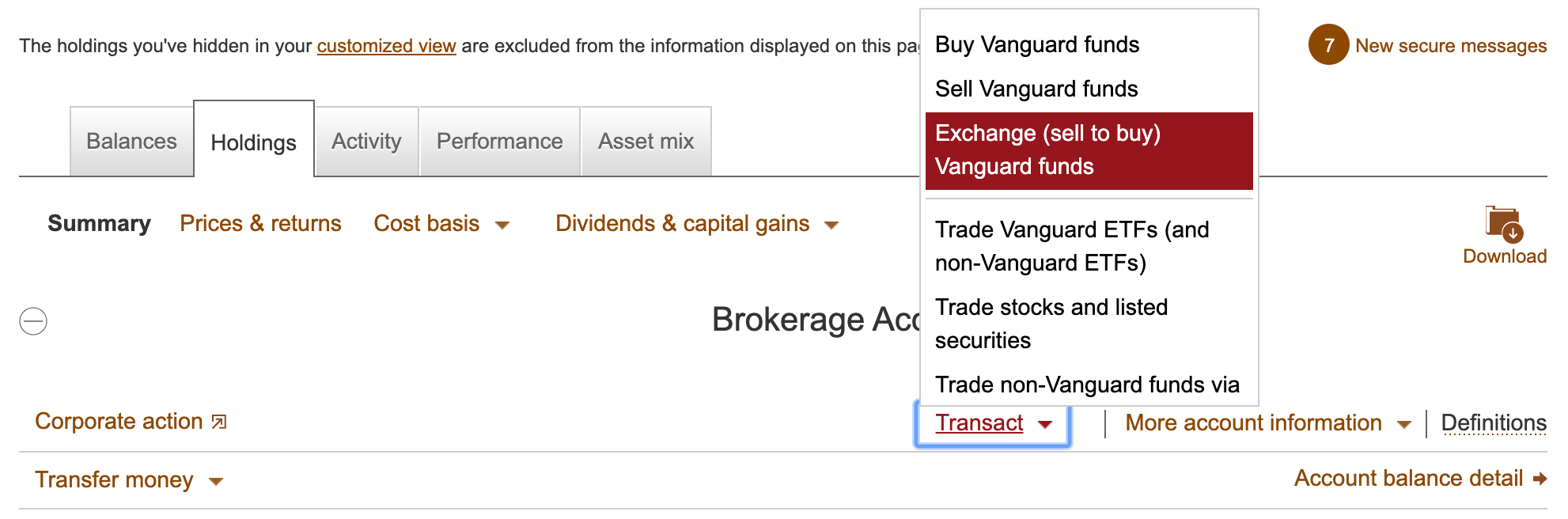 Vanguard transaction options
