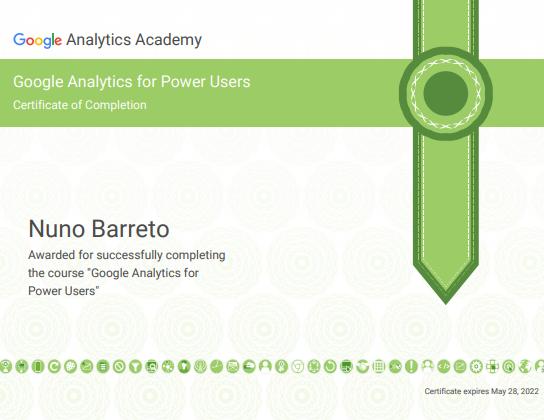Certificado Google Analytics Power User