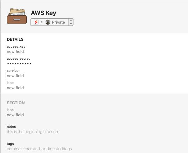 1Password Add AWS Secret