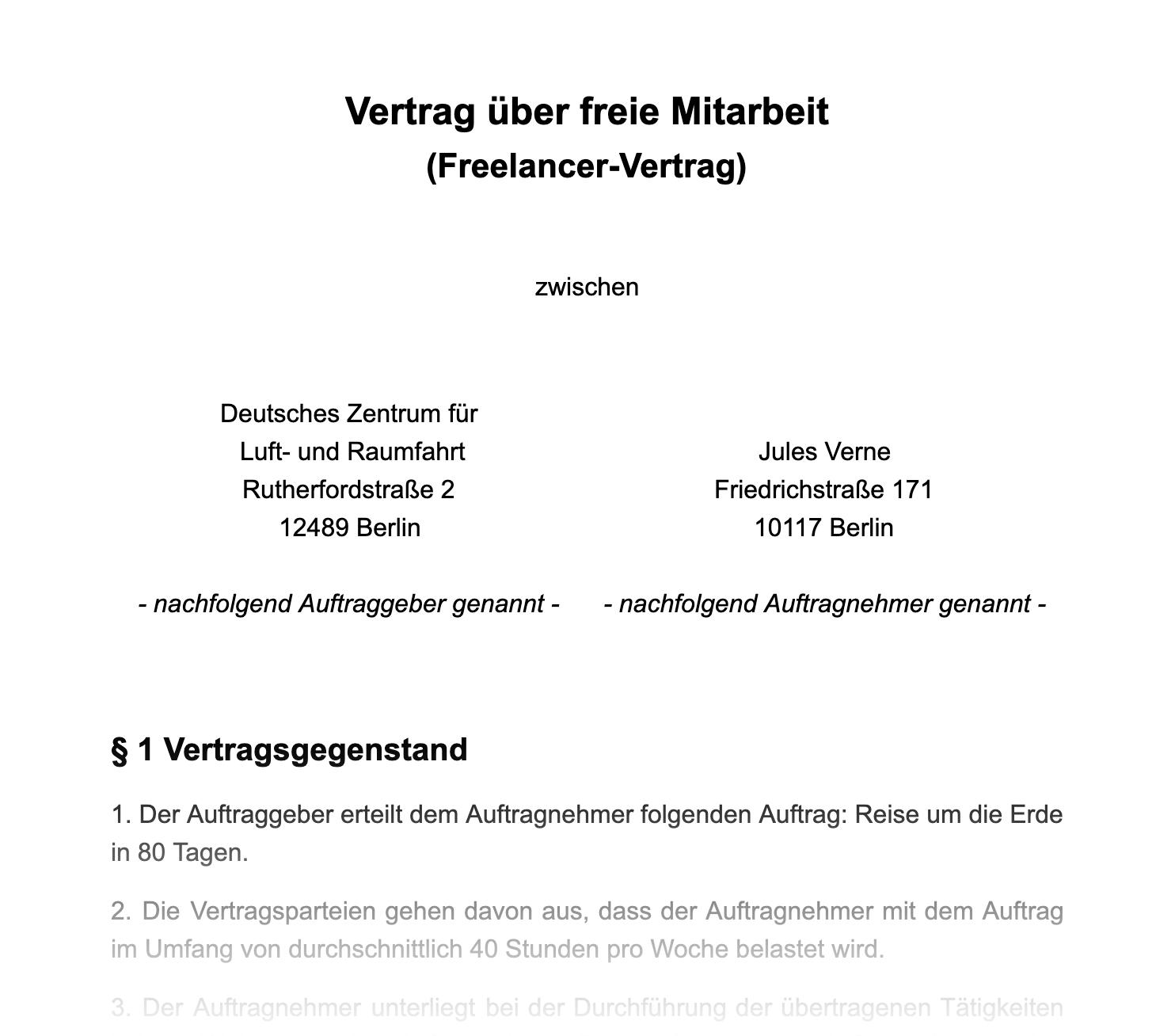 Muster eines Vertrages über freie Mitarbeit