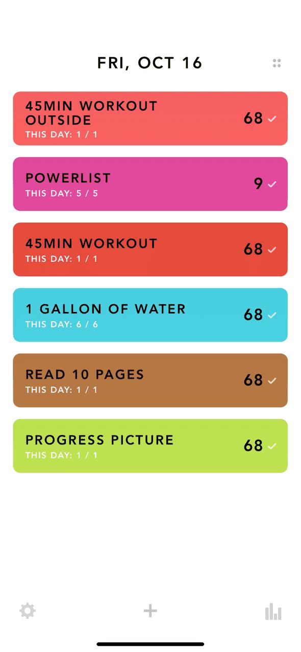 Screenshot of my tracking app