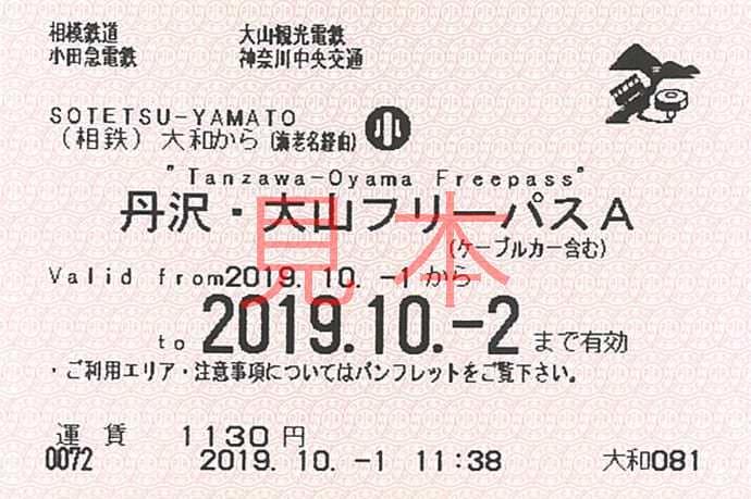 丹沢・大山フリーパスA見本