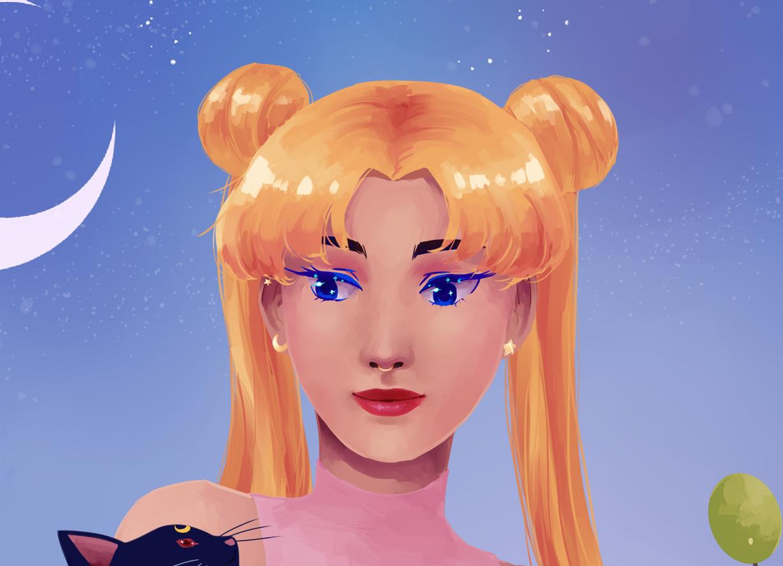 Closeup of Sailor Moon's face.