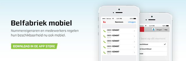Wijzig de instellingen van uw telefoonnummer vanaf uw smartphone of tablet. Download vandaag nog de gratis Belfabriek-apps voor nummerhouders of medewerkers.
