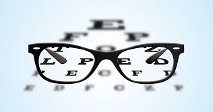 Letters on eye chart with glasses sitting on top