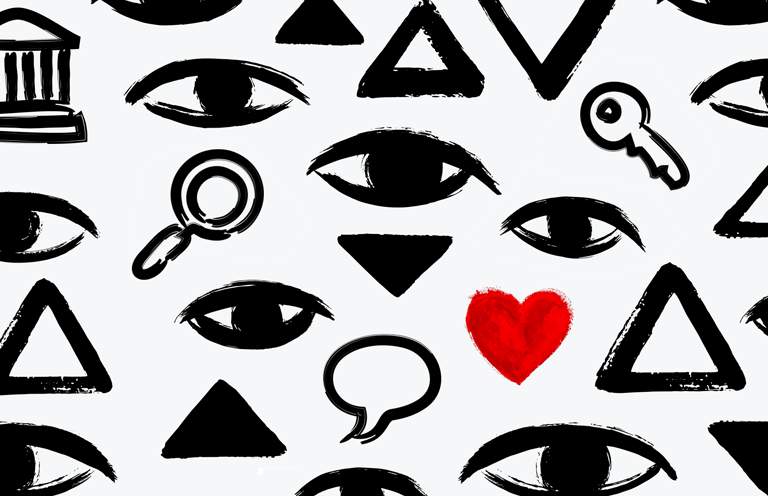 A collage of black-and-white eyes, triangles, magnifying glasses, and keys, with one bright red heart in the lower left-hand corner.