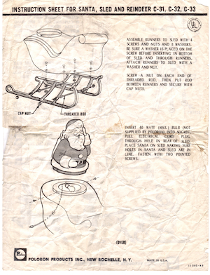 Poloron Products Santa, Sled and Reindeer #C-31, C-32, C-33 Instruction Manual.pdf preview