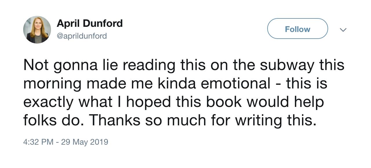April's Response on Twitter