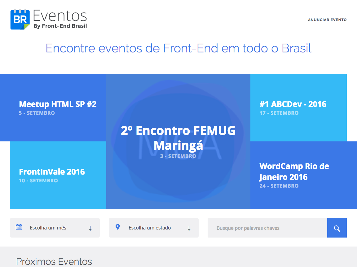 Tela do Eventos