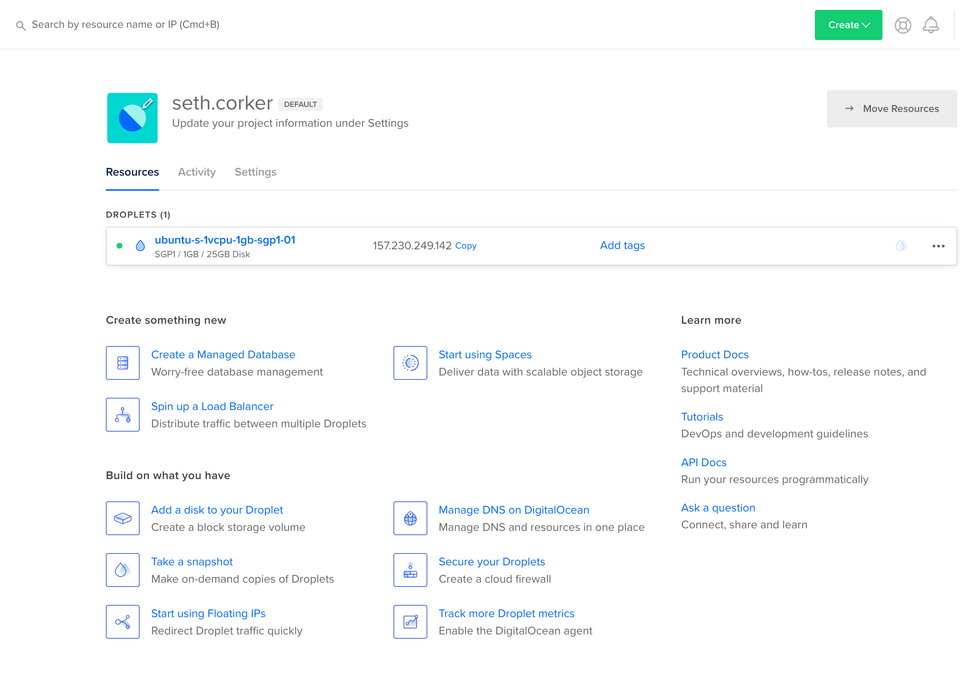 the dashboard showing a new droplet and other DigitalOcean services