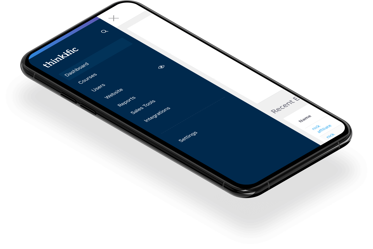 Thinkific mobile app navigation screen