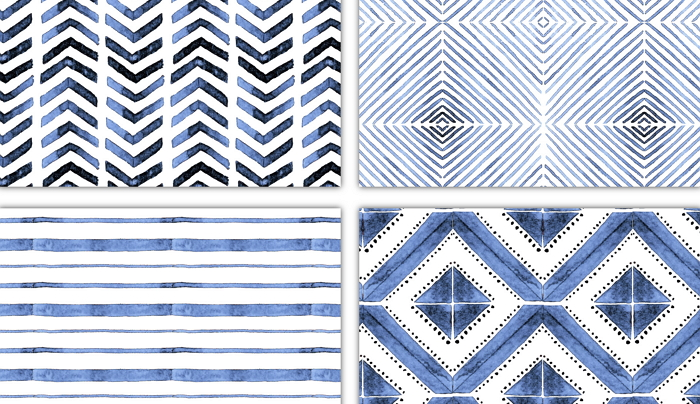 seamless geometrical patterns, the elements are hand painted watercolor item thumbnail